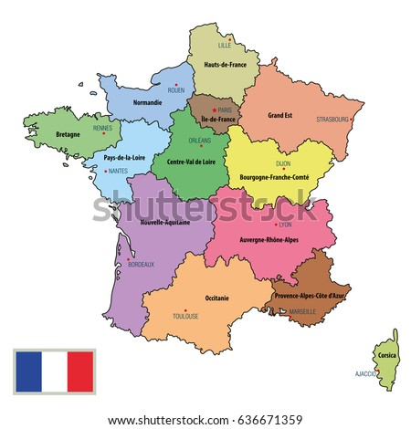 Vector Highly Detailed Political Map France Stock Vector - World map and their capitals