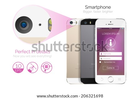 Vector highly detailed smartphone mock up with login page concept - stock vector