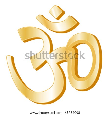 vector - Hinduism Symbol.  Golden Aumkar symbol of Hindu faith on a white background. EPS8 compatible.