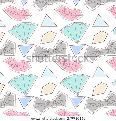 Vector hipster abstract geometric background with the moon and the stars. Night pattern. Kids pattern in soft delicate pencil style.