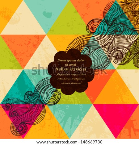 Vector hipster banner made of triangles. Retro label design. Square composition with geometric shapes, bright colors. Hipster theme label. Seamless pattern on the back is complete. Triangle backdrop. - stock vector