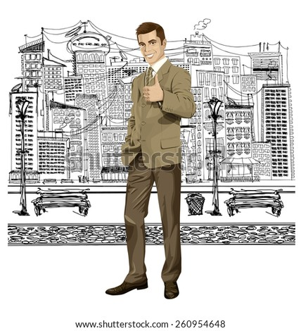Vector hipster business man shows well done on the sketch street