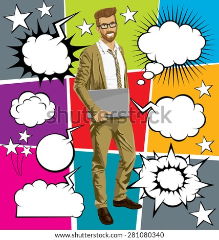 Vector hipster business man with laptop in his hands, with speech and thought bubbles