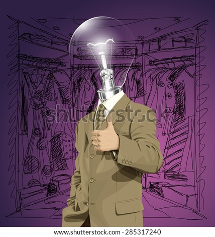Vector hipster lamp head business man have an idea and shows well done on shopping - stock vector