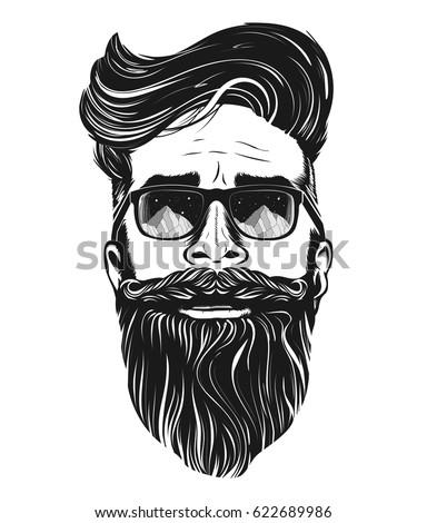 vector hipster man bearded face sunglasses stock vector