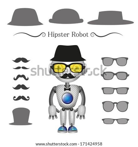 vector hipster robot - stock vector