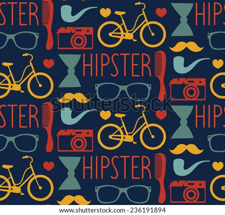 Vector hipster seamless pattern with fashion sunglasses, vintage camera, retro bicycle, comb, bow, tobacco pipe and mustache in trendy flat style - stock vector
