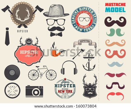 Vector Hipster style design elements and icons set. Sunglasses, mustache, bow, anchor, hat, camera, bike. Organized in layers. - stock vector