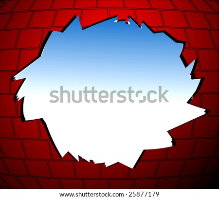Vector Hole In Brick Wall - stock vector