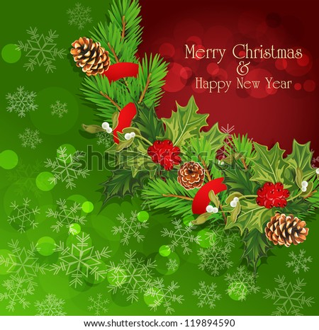 vector holiday background with Christmas garland, hally - stock vector