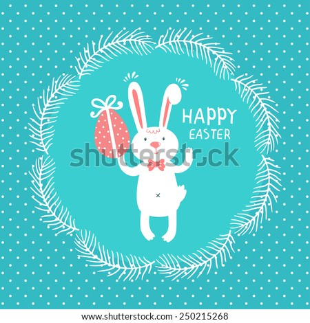 """Vector holiday background with cute bunny, egg, wreath from branches and text """"Happy Easter"""". Bright card with smiling cartoon character on dotted background. - stock vector"""