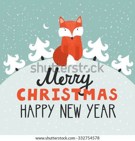 Vector holiday background with cute fox, Christmas trees, night sky, moon. Christmas card with hand written text Merry Christmas and happy New Year. Childish winter background. - stock vector