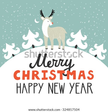 Vector holiday background with cute reindeer, Christmas trees, night sky, moon. Christmas card with hand written text Merry Christmas and happy New Year. Childish winter background. - stock vector