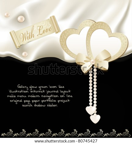 vector holiday black background with silk, two hearts and pearls - stock vector