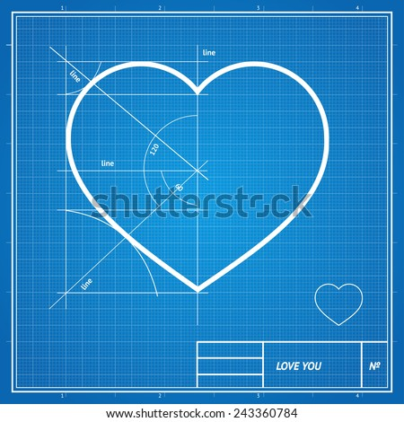 Vector Holiday Card. Heart on blueprint paper. Valentines day concept. - stock vector