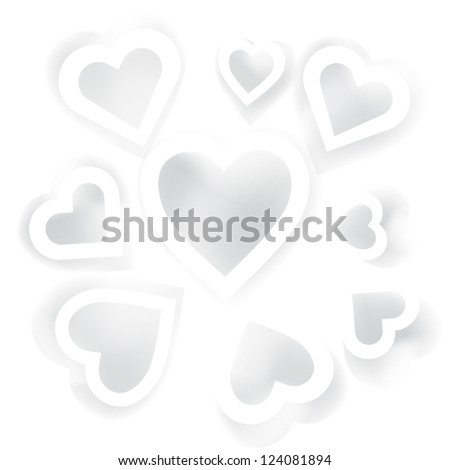 Vector holiday card with white hearts with shadow for your web design - stock vector
