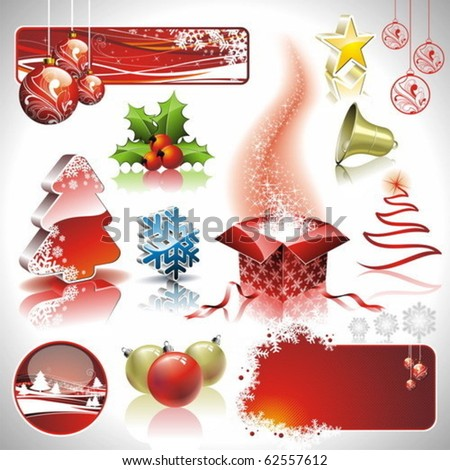 Vector Holiday collection for a Christmas theme with 3d elements. - stock vector