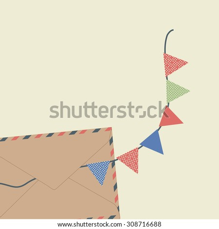 Vector holiday envelope. - stock vector