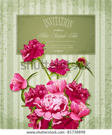 vector holiday greetings with Peonies - stock vector