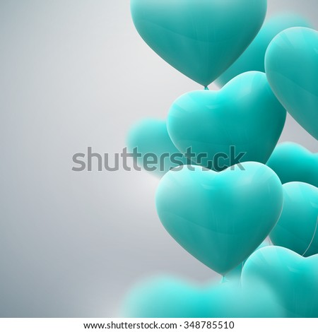 vector holiday illustration of flying bunch of balloon hearts. Happy Valentines Day - stock vector