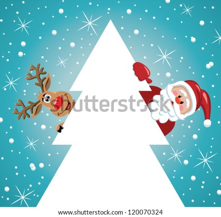 vector holiday illustration of santa claus and red nosed reindeer behind christmas tree - stock vector