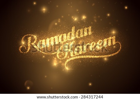 vector holiday illustration of shiny Ramadan Kareem label. lettering composition of muslim holy month with sparkles - stock vector