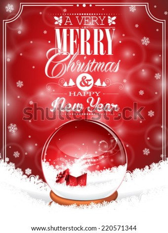Vector Holiday illustration on a Christmas theme with snow globe against and magic gift box on red background. EPS 10 illustration. - stock vector