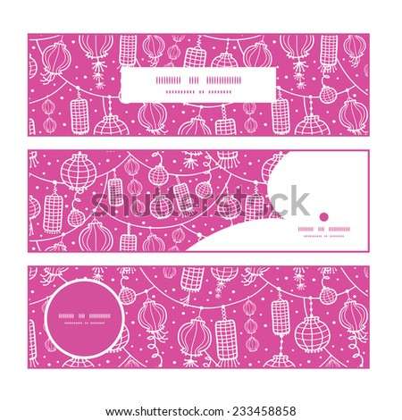 Vector holiday lanterns line art horizontal banners set pattern background - stock vector