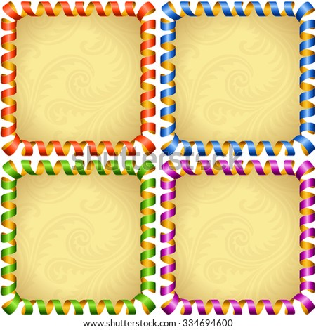 Vector holiday square frame set. Red, blue, green and purple streamer - stock vector