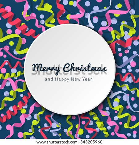 Vector holiday template with streamers and confetti isolated on dark background with frame for your text. Carnival party serpentine decoration for your banner and greeting card design. Paper ribbons - stock vector
