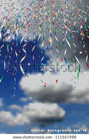 vector holidays background with falling confetti in sky - stock vector