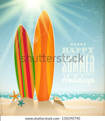 Vector holidays vintage design - surfboards on a beach against a sunny seascape - stock vector