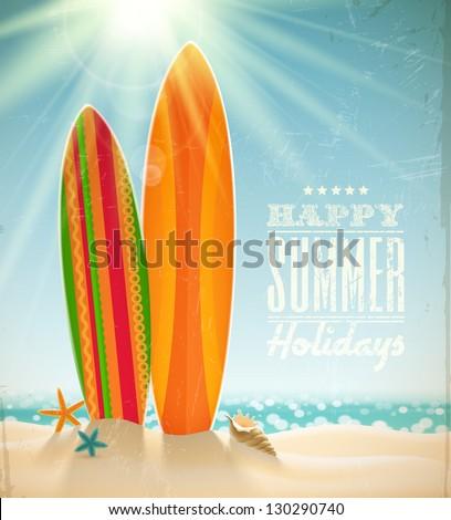 Vector holidays vintage design - surfboards on a beach against a sunny seascape - stock vector