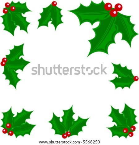 Vector holly leaves and berries border.