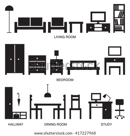 Furniture silhouette on dining room stencils