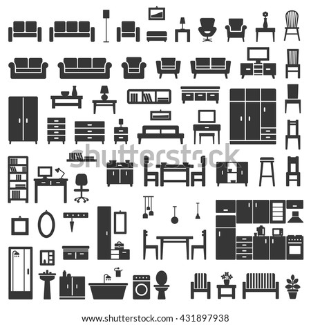 Vector home furniture silhouette icons set 1