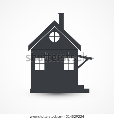 Vector home icon design with isolated on white - stock vector