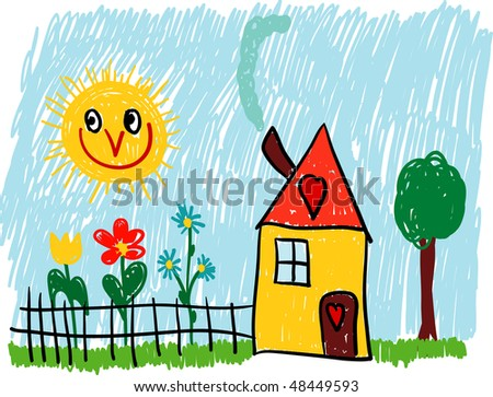 vector - home with flowers garden and tree
