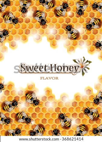 Vector Honey Background with Busy Bees Working on Honeycomb and Space for Text. No Blend is Used. - stock vector