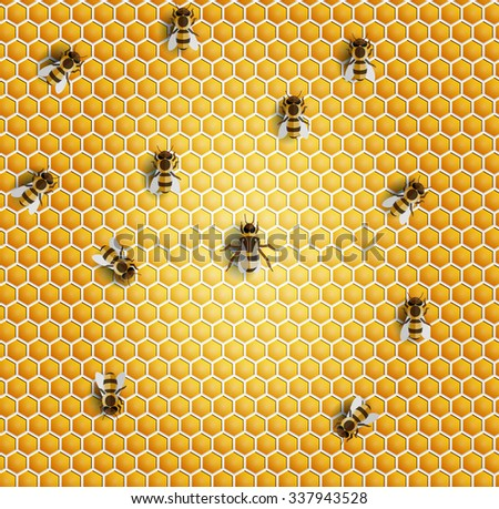 Vector honeycomb bee seamless pattern