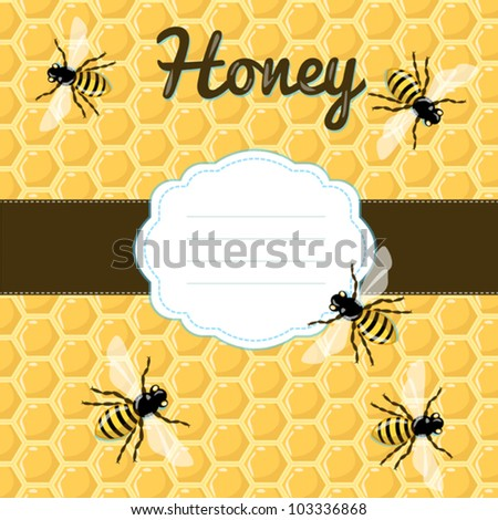 Vector honeycomb seamless pattern with bees and decorative ruled frame for your text. Yellow summer style illustration with insects