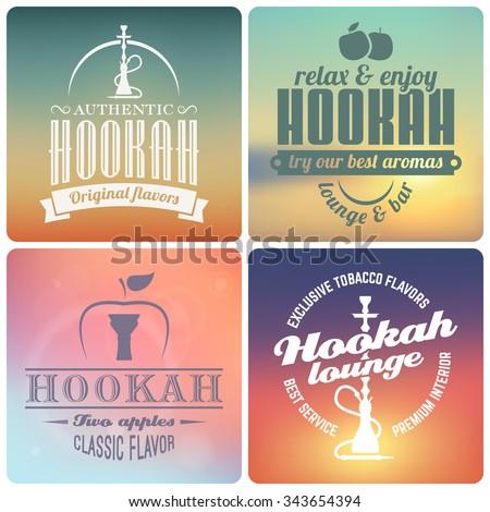 Vector hookah labels and badges. Emblems for hookah lounge or shisha bar. Vintage hookah logos on blurred background - stock vector