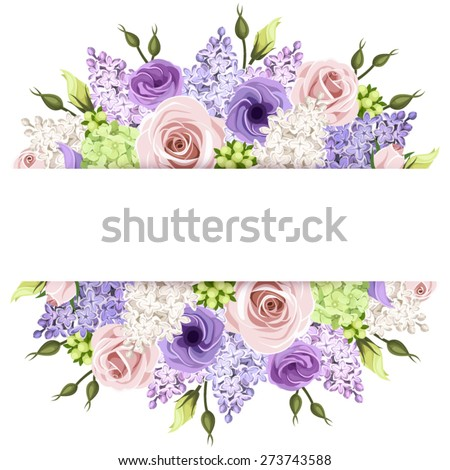 Vector horizontal background with pink, purple, white and green roses, lisianthuses, hydrangea and lilac flowers. - stock vector