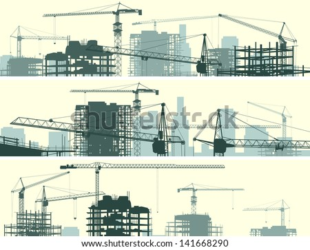 Vector horizontal banner of construction site with cranes and skyscraper under construction. - stock vector