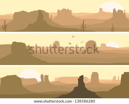 Vector horizontal banner: prairie wild west with cacti and birds of prey. - stock vector