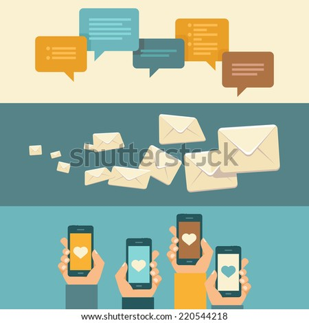 Vector horizontal banners and headers with communication concepts in flat style - stock vector