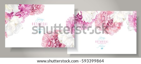 Vector horizontal banners with pink peony and white tulip flowers on white background. Romantic design for natural cosmetics, perfume, women products. Can be used as greeting card, wedding invitation