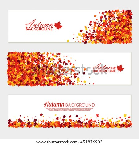 Vector horizontal fall banners set of scattered maple leaves for different design.