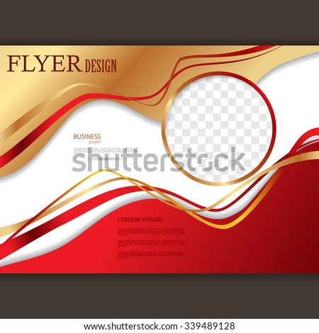 Vector horizontal flyer template for design. Editable A4 poster for business, magazine cover. Gold and red color - stock vector