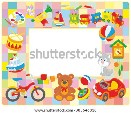 Vector horizontal frame border with colorful toys drawn in cartoon-style